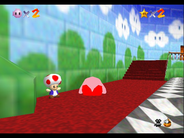 Super Mario 64 - Kirby Edition - Level Bob-Omb Battlefield - kirby sleeping           - User Screenshot